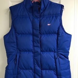 Vibrant blue Vineyard Vines women's puffer vest